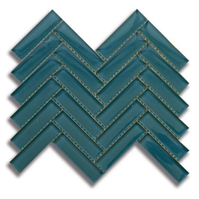 "1"" x 4"" Herringbone Lagoon (Clear) Glass Mosaic Tile - AKDO"