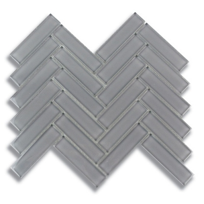 "1"" x 4"" Herringbone Lunar Gray Medium (Clear) Glass Mosaic Tile - AKDO"