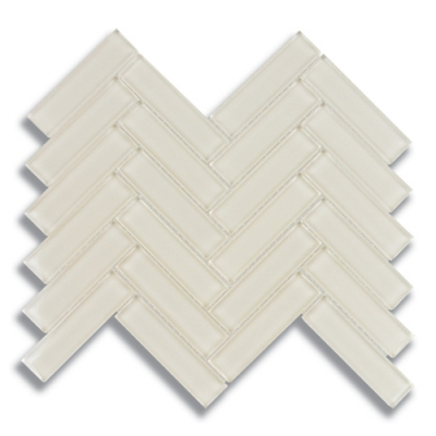 "1"" x 4"" Herringbone Parchment (Clear) Glass Mosaic Tile - AKDO"