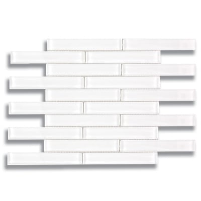 "1"" x 6"" Brick Arctic White (Clear) Glass Mosaic Tile - AKDO"