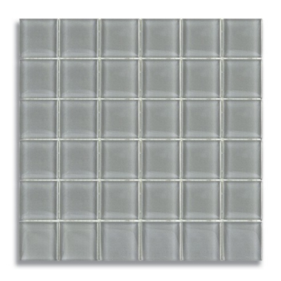 "2"" x 2"" Lunar Gray Medium (Clear) Glass Mosaic Tile - AKDO"