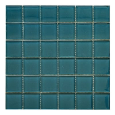 "2""x 2"" Lagoon (Clear) Glass Mosaic Tile - AKDO"