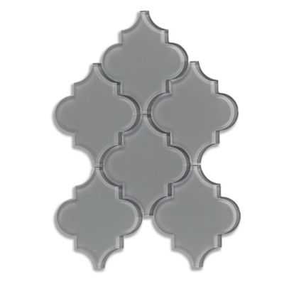 Arabesque Lunar Gray Medium (Clear) Glass Mosaic Tile - AKDO