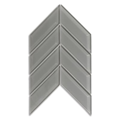 Chevron Lunar Gray Medium (Clear) Glass Mosaic Tile - AKDO