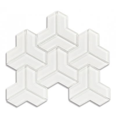 Cubism Arctic White (Clear) Glass Mosaic Tile - AKDO