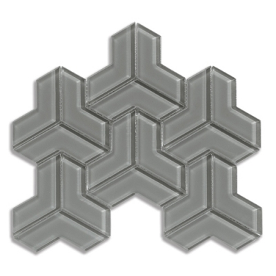 Cubism Lunar Gray Medium (Clear) Glass Mosaic Tile - AKDO