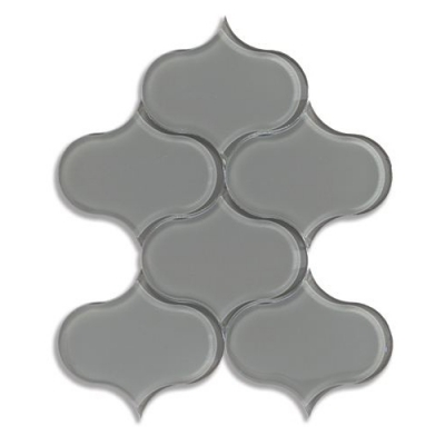 Dewdrop Lunar Gray Medium (Clear) Glass Mosaic Tile - AKDO