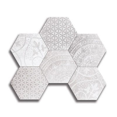 Hexagon Heritage Blend 1 Ash & Birch White Porcelain Tile - AKDO
