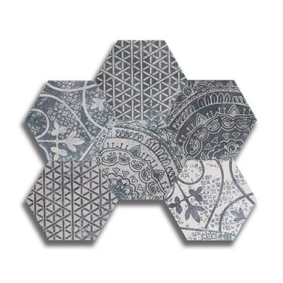 Hexagon Heritage Blend 2 Birch White & Black Porcelain Tile - AKDO