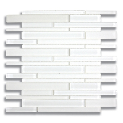 Stagger Arctic White (Clear & Frosted) Glass Mosaic Tile - AKDO