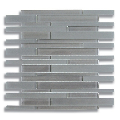 Stagger Lunar Gray Medium (Clear & Frosted) Glass Mosaic Tile - AKDO