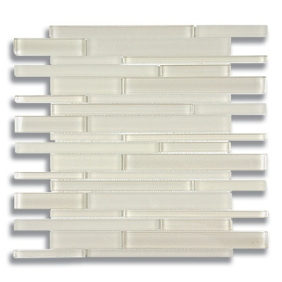 Stagger Parchment (Clear & Frosted) Glass Mosaic Tile - AKDO