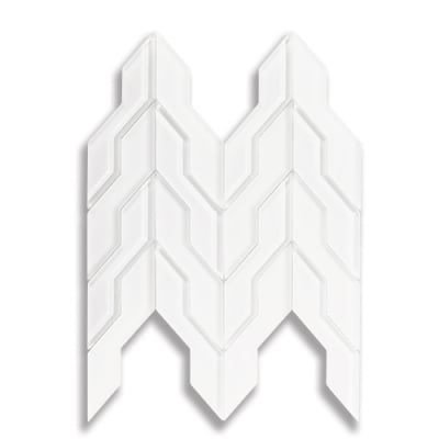 Zig Zag Arctic White (Clear & Frosted) Glass Mosaic Tile - AKDO