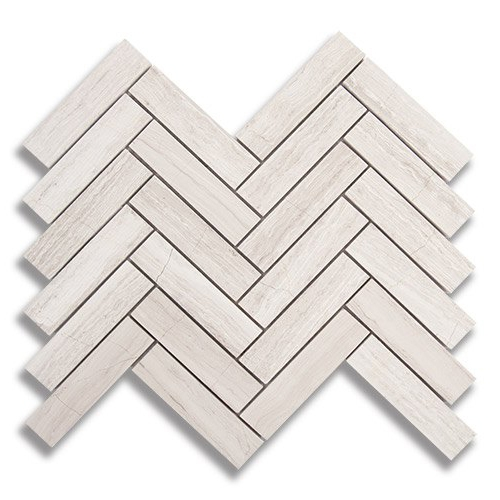 1 x 4 Herringbone Cream Taupe Polished Marble Mosaic Tile - AKDO