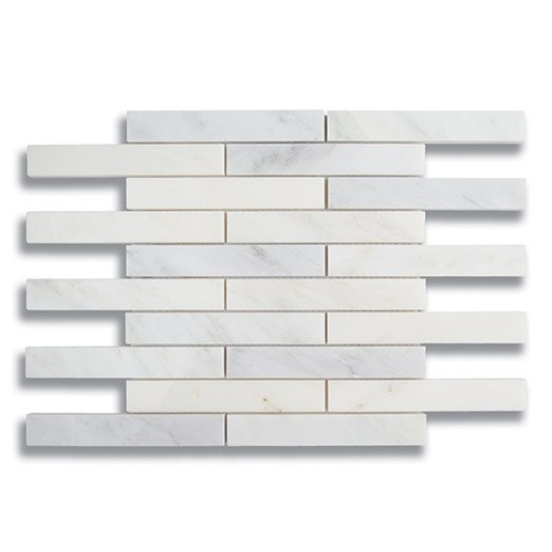 1 x 6 Brick Carrara Bella Polished Marble Mosaic Tile - AKDO