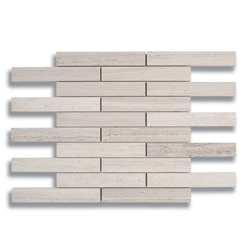 1 x 6 Brick Cream Taupe Honed Marble Mosaic Tile - AKDO