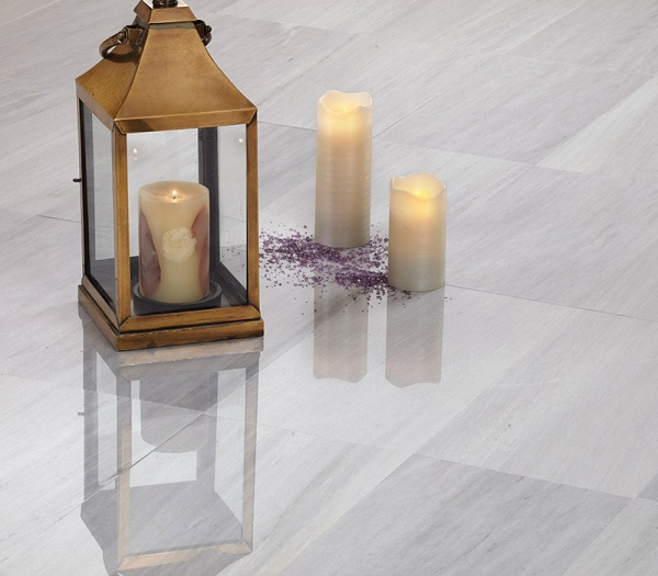 12 x 12  Ash Gray Polished Marble Tile - AKDO