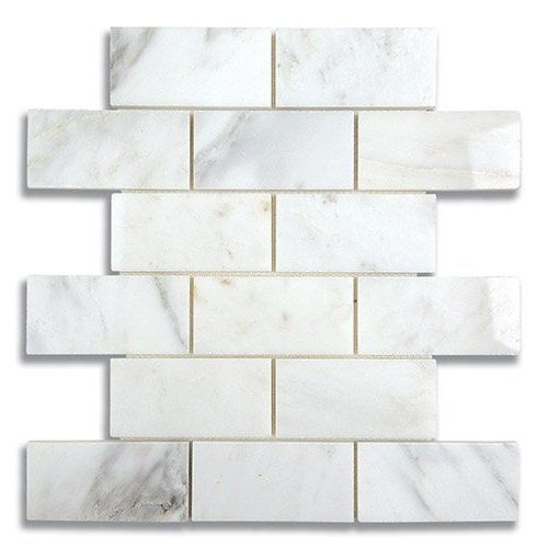 2 x 4 Brick Carrara Bella Polished Marble Mosaic Tile - AKDO