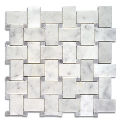 Basket Weave Carrara Honed & Turkish Gray Dots Polished Marble Mosaic Tile - AKDO